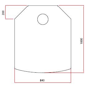 Golvplåt svart 840×1000 mm