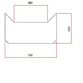 Golvplåt i rostfri 740x430 mm